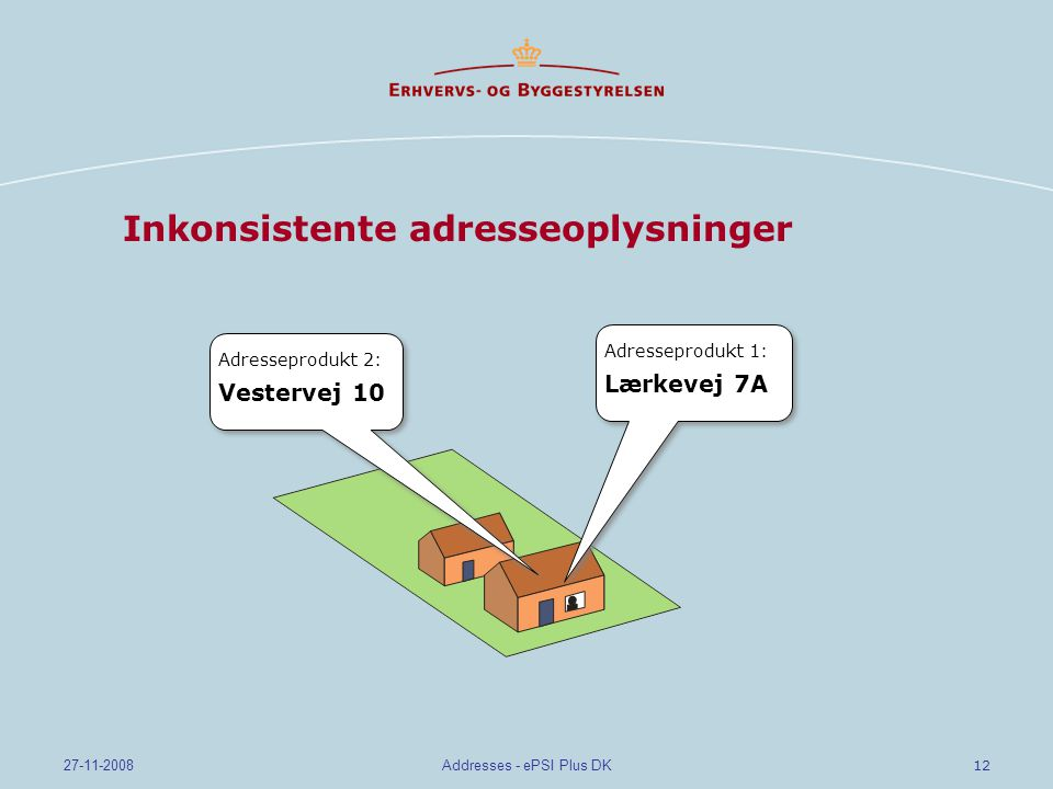 12 27-11-2008Addresses - ePSI Plus DK Inkonsistente adresseoplysninger Adresseprodukt 1: Lærkevej 7A Adresseprodukt 1: Lærkevej 7A Adresseprodukt 2: Vestervej 10 Adresseprodukt 2: Vestervej 10