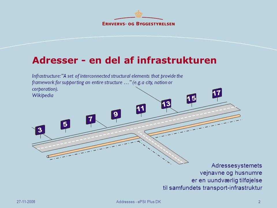 2 27-11-2008Addresses - ePSI Plus DK Adresser - en del af infrastrukturen Infrastructure: A set of interconnected structural elements that provide the framework for supporting an entire structure … (e.g.