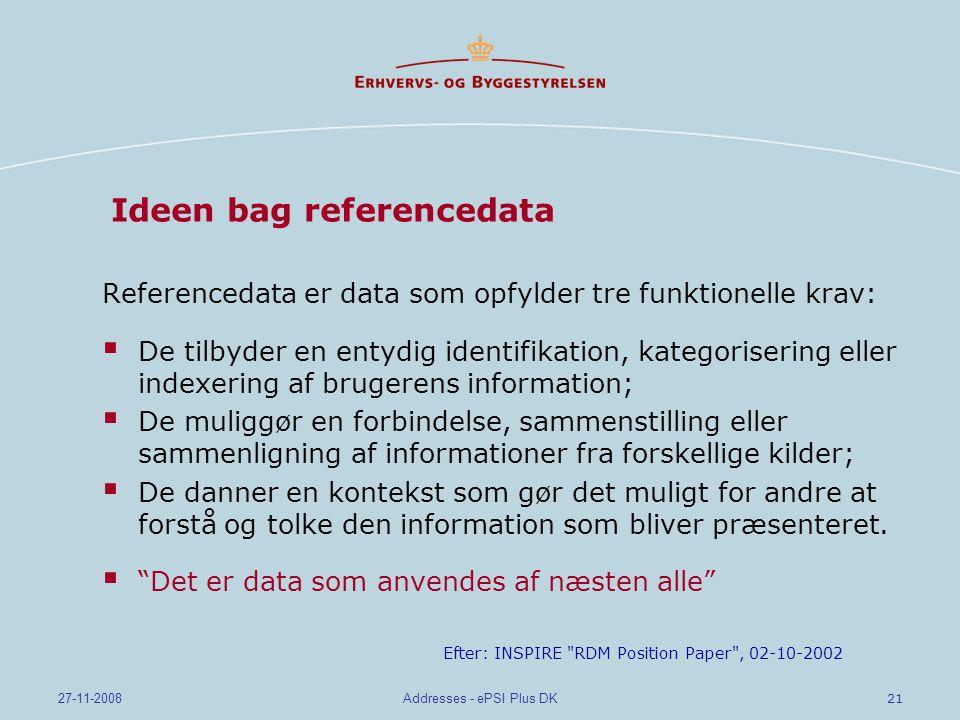 21 27-11-2008Addresses - ePSI Plus DK Ideen bag referencedata Referencedata er data som opfylder tre funktionelle krav:  De tilbyder en entydig identifikation, kategorisering eller indexering af brugerens information;  De muliggør en forbindelse, sammenstilling eller sammenligning af informationer fra forskellige kilder;  De danner en kontekst som gør det muligt for andre at forstå og tolke den information som bliver præsenteret.
