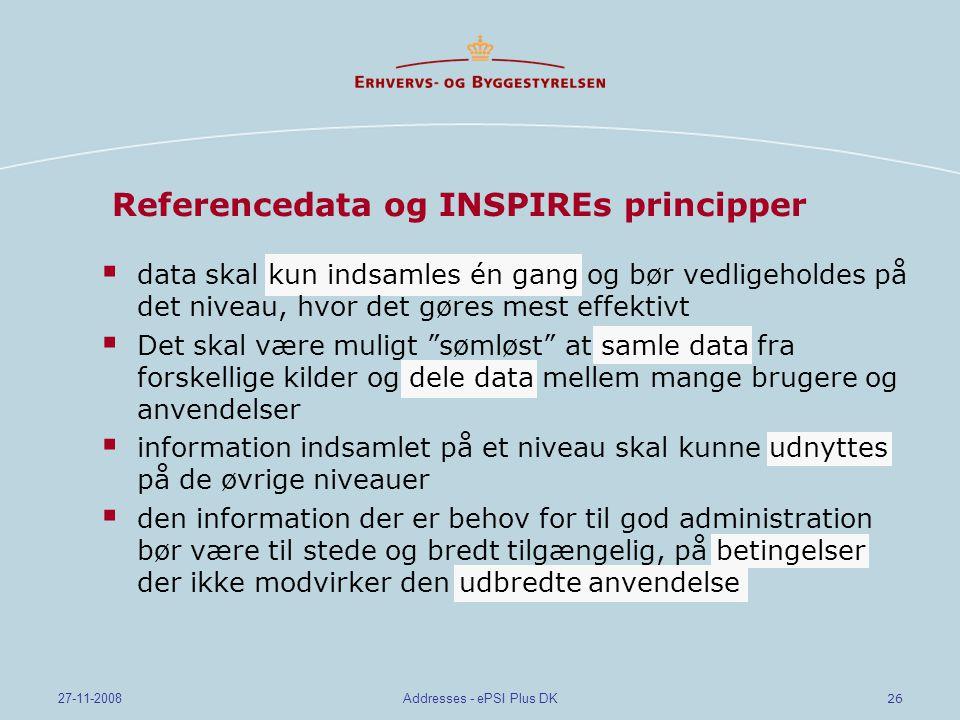26 27-11-2008Addresses - ePSI Plus DK Referencedata og INSPIREs principper  data skal kun indsamles én gang og bør vedligeholdes på det niveau, hvor det gøres mest effektivt  Det skal være muligt sømløst at samle data fra forskellige kilder og dele data mellem mange brugere og anvendelser  information indsamlet på et niveau skal kunne udnyttes på de øvrige niveauer  den information der er behov for til god administration bør være til stede og bredt tilgængelig, på betingelser der ikke modvirker den udbredte anvendelse