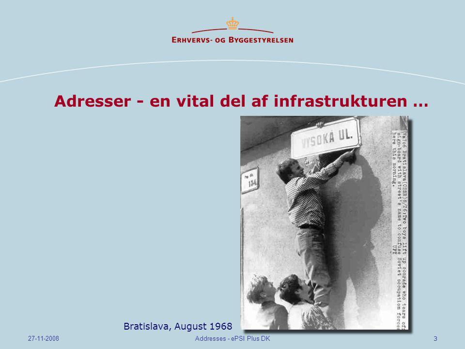 3 27-11-2008Addresses - ePSI Plus DK Adresser - en vital del af infrastrukturen … Bratislava, August 1968