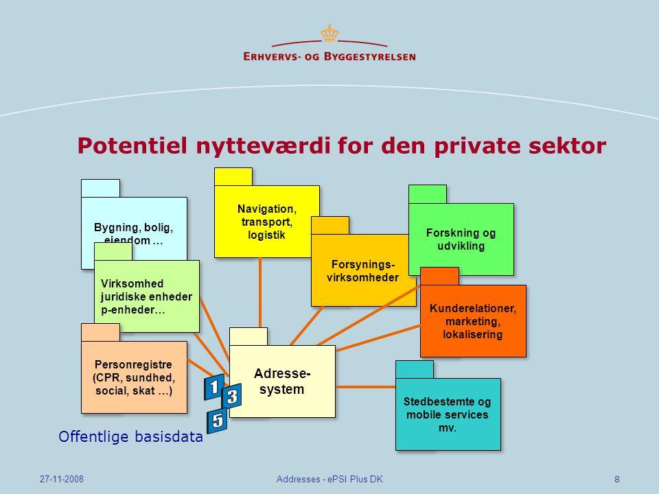 8 27-11-2008Addresses - ePSI Plus DK Potentiel nytteværdi for den private sektor Navigation, transport, logistik Navigation, transport, logistik Forsynings- virksomheder Forskning og udvikling Kunderelationer, marketing, lokalisering Kunderelationer, marketing, lokalisering Stedbestemte og mobile services mv.