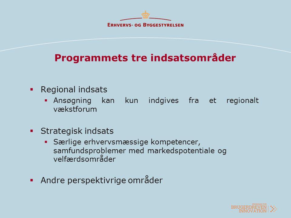 Programmets tre indsatsområder  Regional indsats  Ansøgning kan kun indgives fra et regionalt vækstforum  Strategisk indsats  Særlige erhvervsmæss