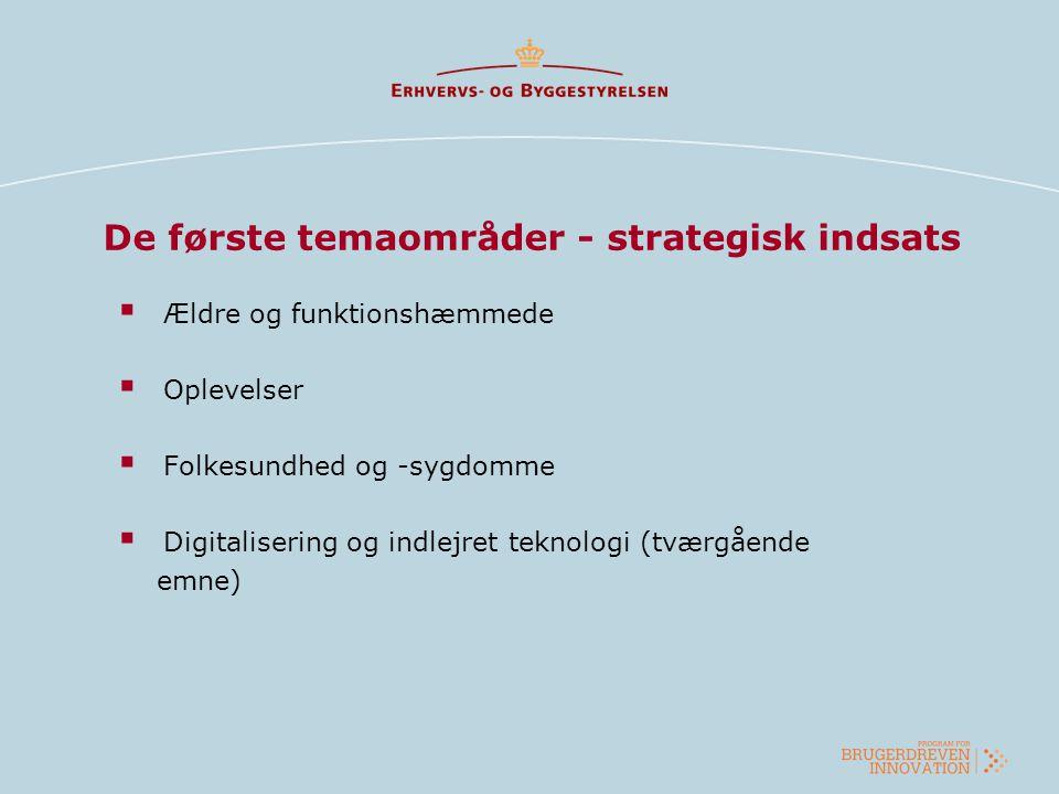 De første temaområder - strategisk indsats  Ældre og funktionshæmmede  Oplevelser  Folkesundhed og -sygdomme  Digitalisering og indlejret teknolog