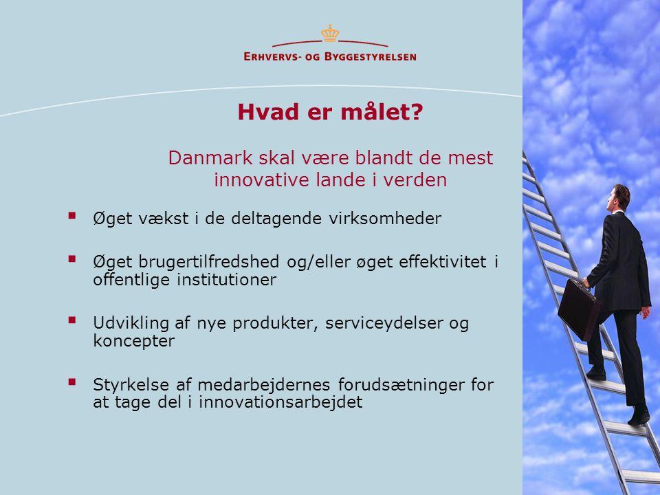 Hvad er målet? Danmark skal være blandt de mest innovative lande i verden  Øget vækst i de deltagende virksomheder  Øget brugertilfredshed og/eller