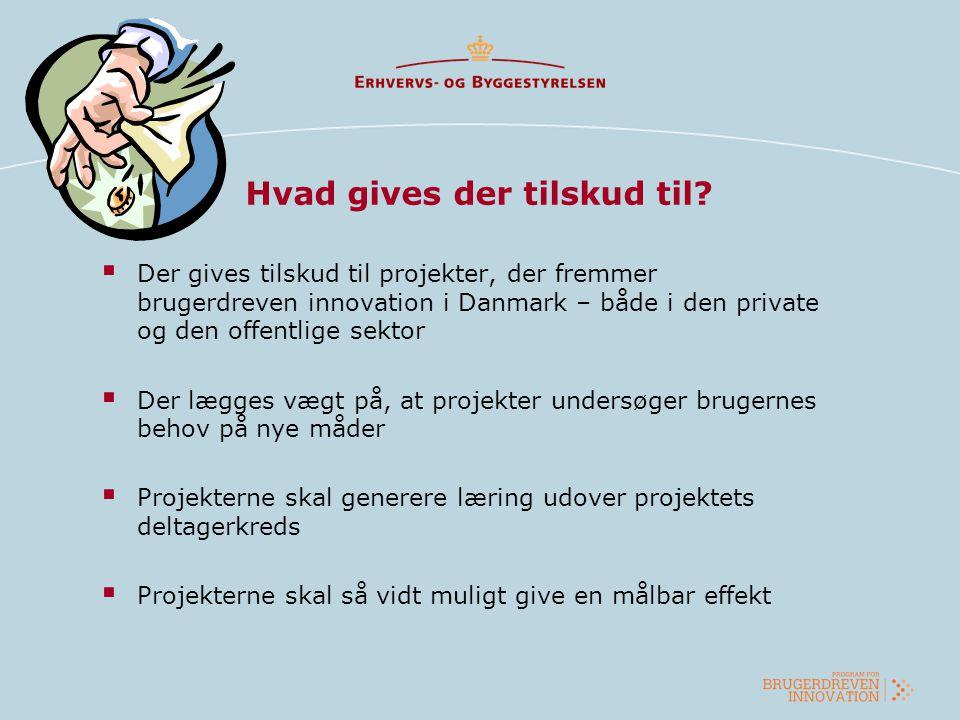 Hvad gives der tilskud til?  Der gives tilskud til projekter, der fremmer brugerdreven innovation i Danmark – både i den private og den offentlige se