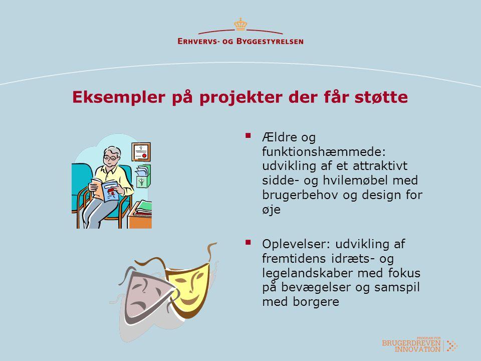 Eksempler på projekter der får støtte  Ældre og funktionshæmmede: udvikling af et attraktivt sidde- og hvilemøbel med brugerbehov og design for øje 
