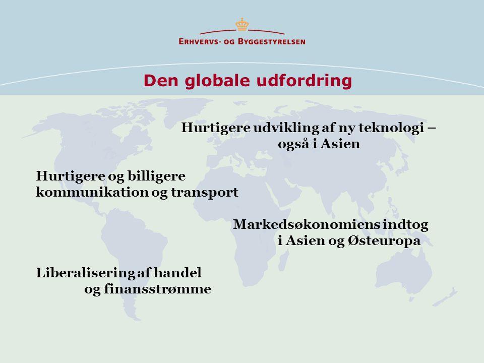 Den globale udfordring Hurtigere udvikling af ny teknologi – også i Asien Hurtigere og billigere kommunikation og transport Markedsøkonomiens indtog i