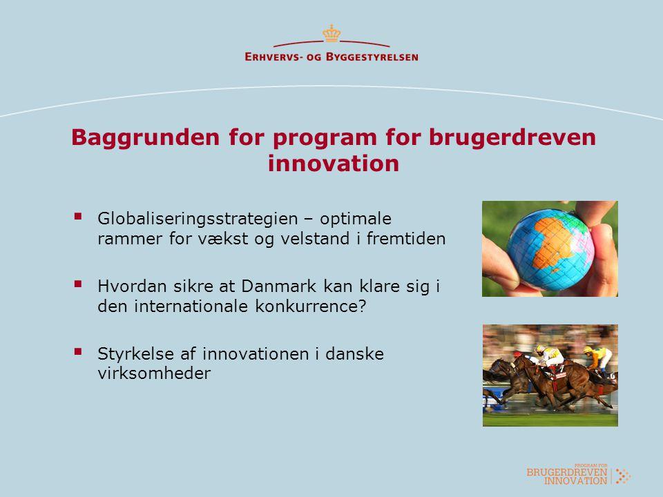 Baggrunden for program for brugerdreven innovation  Globaliseringsstrategien – optimale rammer for vækst og velstand i fremtiden  Hvordan sikre at D