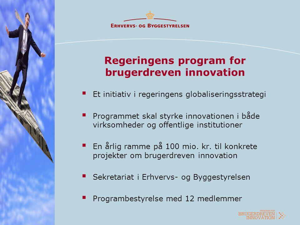 Regeringens program for brugerdreven innovation  Et initiativ i regeringens globaliseringsstrategi  Programmet skal styrke innovationen i både virks