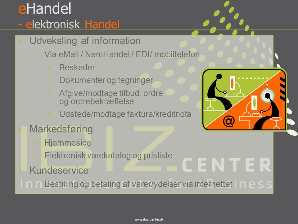 www.ibiz-center.dk eHandel - elektronisk Handel •Udveksling af information •Via eMail / NemHandel / EDI/ mobiltelefon •Beskeder •Dokumenter og tegning