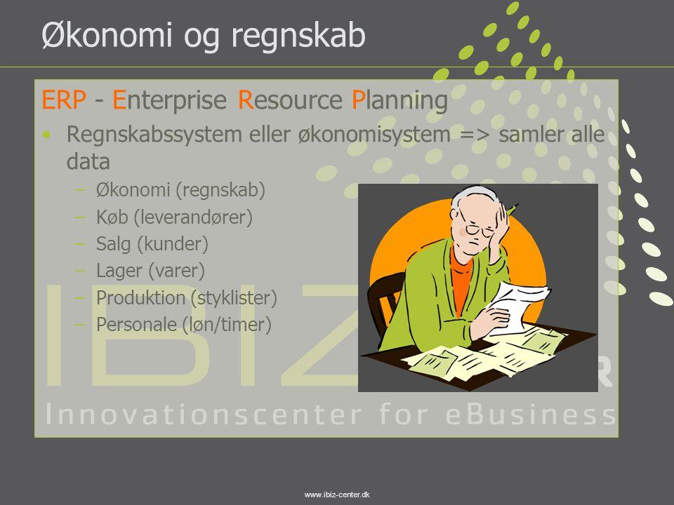www.ibiz-center.dk Økonomi og regnskab ERP - Enterprise Resource Planning •Regnskabssystem eller økonomisystem => samler alle data –Økonomi (regnskab)