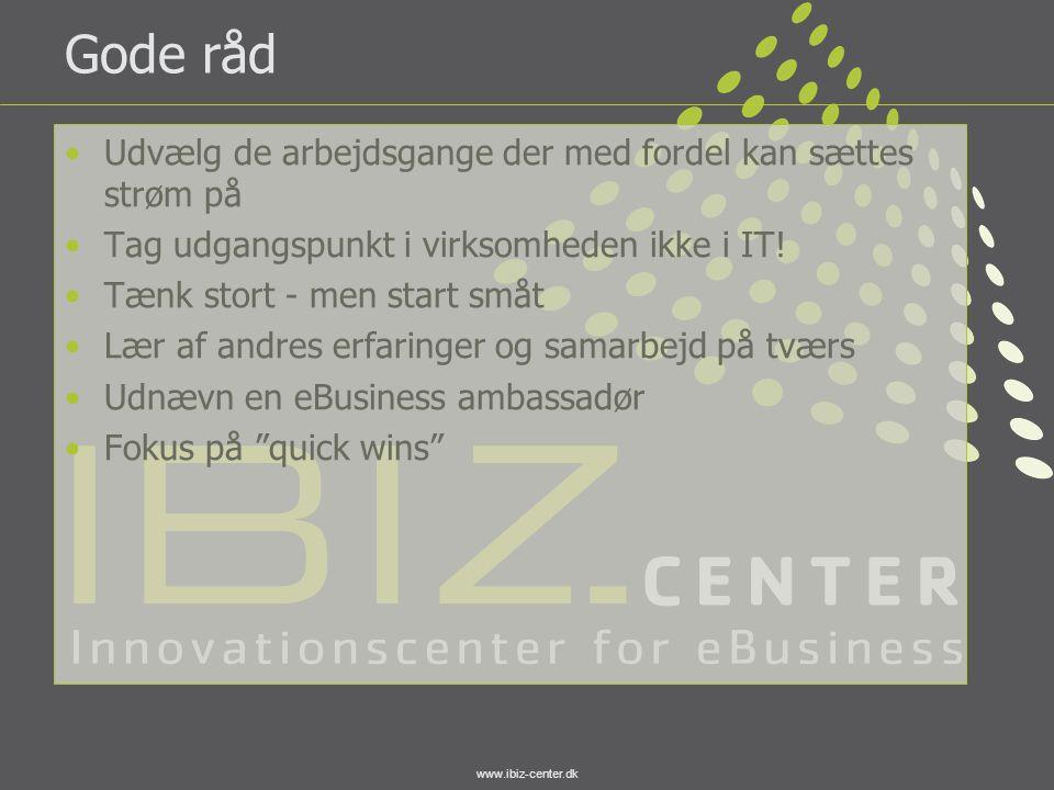 www.ibiz-center.dk Gode råd •Udvælg de arbejdsgange der med fordel kan sættes strøm på •Tag udgangspunkt i virksomheden ikke i IT! •Tænk stort - men s