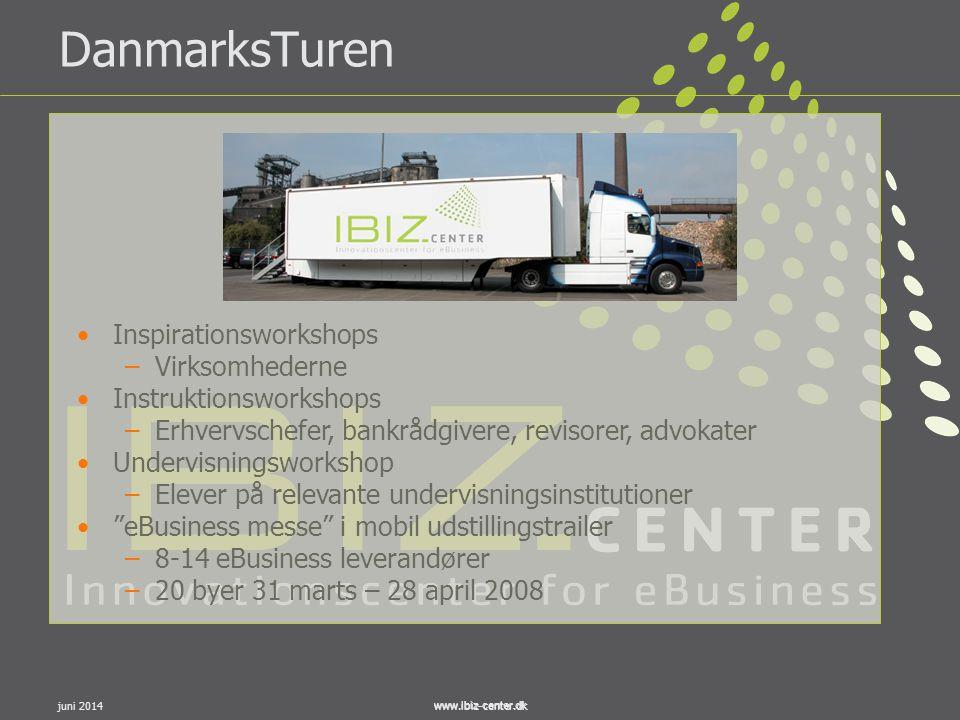 www.ibiz-center.dkjuni 2014www.ibiz-center.dk DanmarksTuren •Inspirationsworkshops –Virksomhederne •Instruktionsworkshops –Erhvervschefer, bankrådgive