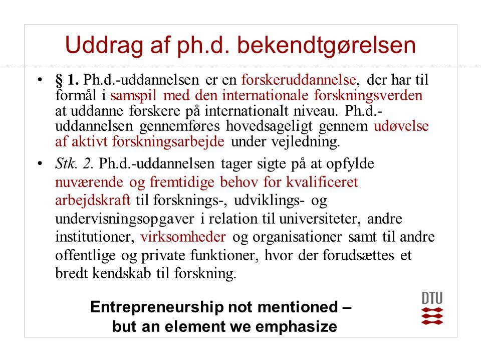 Uddrag af ph.d. bekendtgørelsen •§ 1. Ph.d.-uddannelsen er en forskeruddannelse, der har til formål i samspil med den internationale forskningsverden