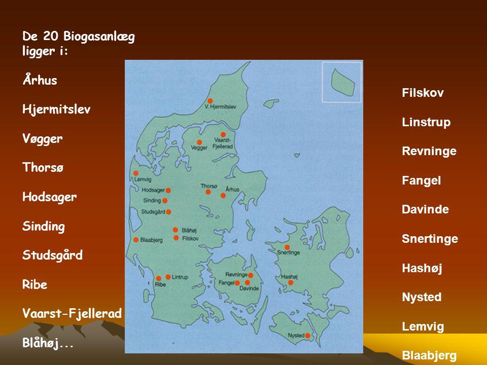 De 20 Biogasanlæg ligger i: Århus Hjermitslev Vøgger Thorsø Hodsager Sinding Studsgård Ribe Vaarst-Fjellerad Blåhøj... Filskov Linstrup Revninge Fange