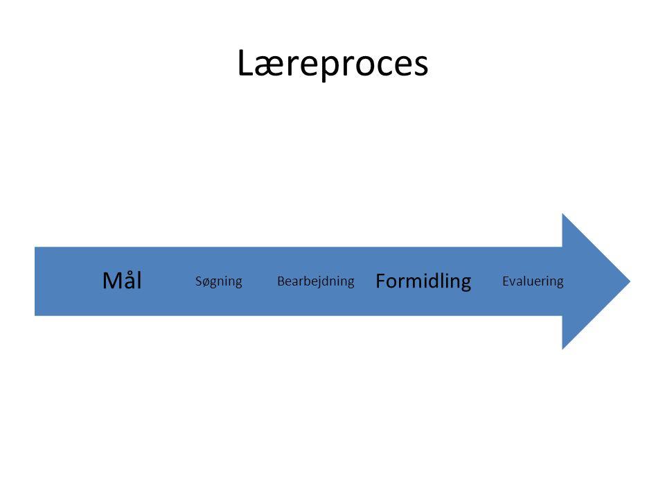Læreproces Evaluering Formidling BearbejdningSøgning Mål