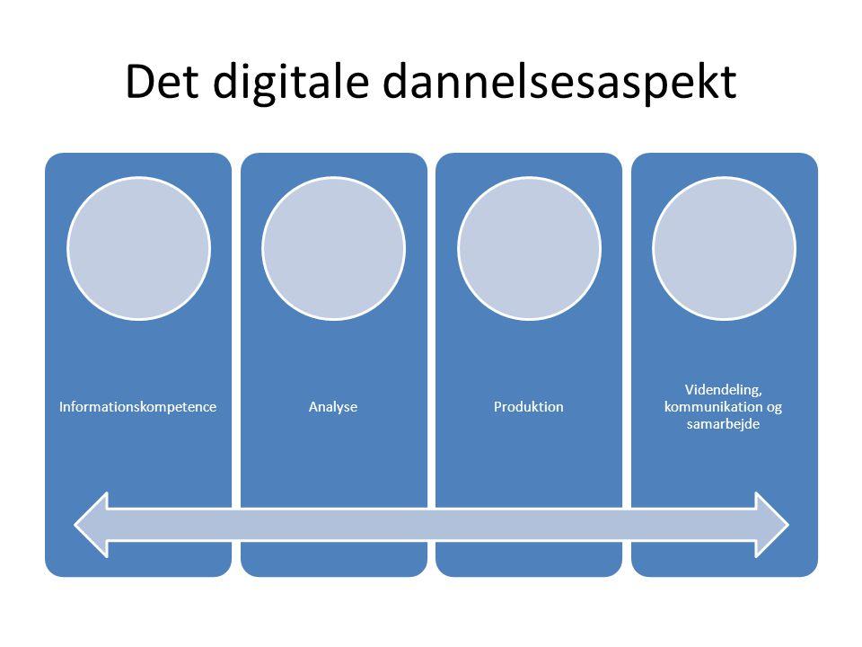 Det digitale dannelsesaspekt InformationskompetenceAnalyseProduktion Videndeling, kommunikation og samarbejde