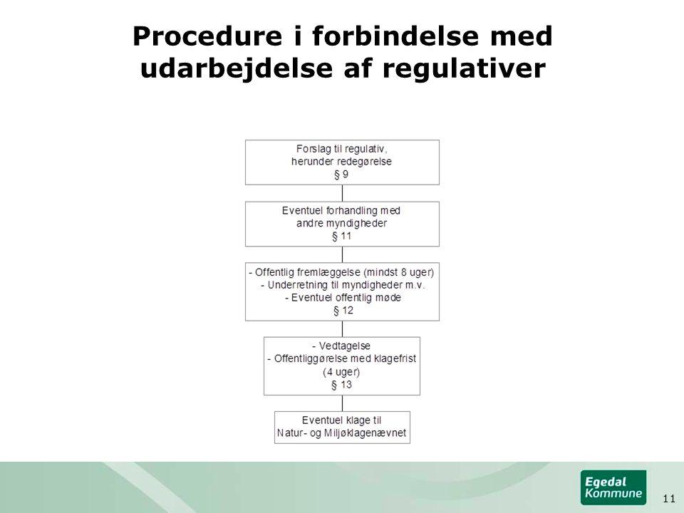 Procedure i forbindelse med udarbejdelse af regulativer 11