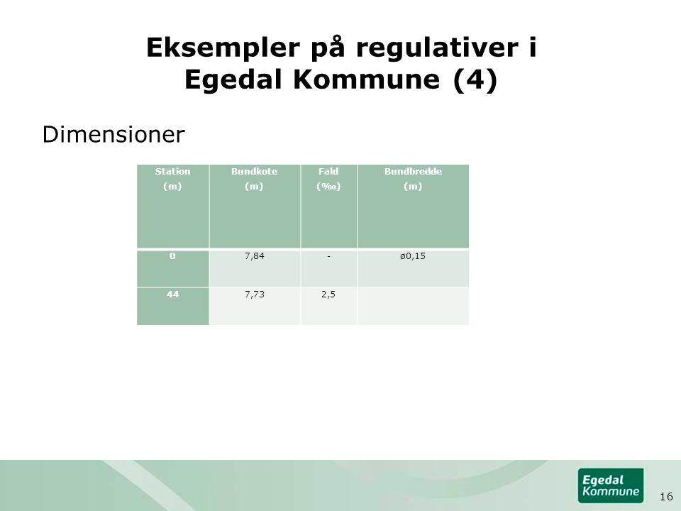 Eksempler på regulativer i Egedal Kommune (4) Dimensioner Station (m) Bundkote (m) Fald (‰) Bundbredde (m) 07,84-ø0,15 447,732,5 16