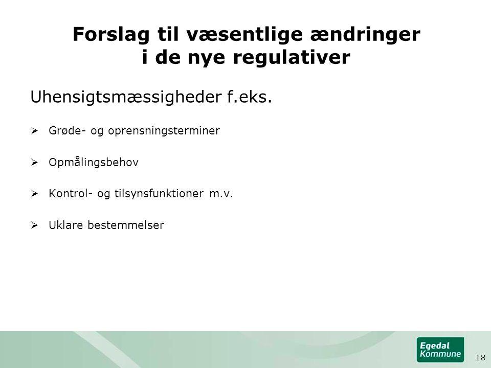 Forslag til væsentlige ændringer i de nye regulativer Uhensigtsmæssigheder f.eks.
