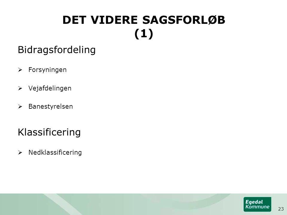 DET VIDERE SAGSFORLØB (1) Bidragsfordeling  Forsyningen  Vejafdelingen  Banestyrelsen Klassificering  Nedklassificering 23