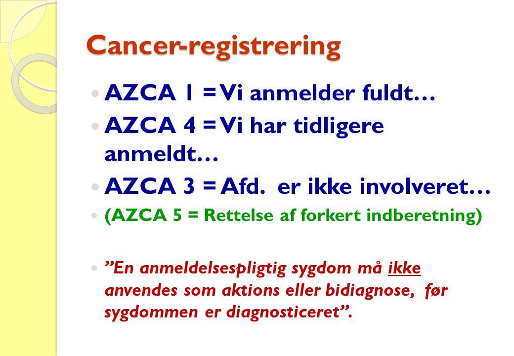 Cancer-registrering  AZCA 1 = Vi anmelder fuldt…  AZCA 4 = Vi har tidligere anmeldt…  AZCA 3 = Afd. er ikke involveret…  (AZCA 5 = Rettelse af for