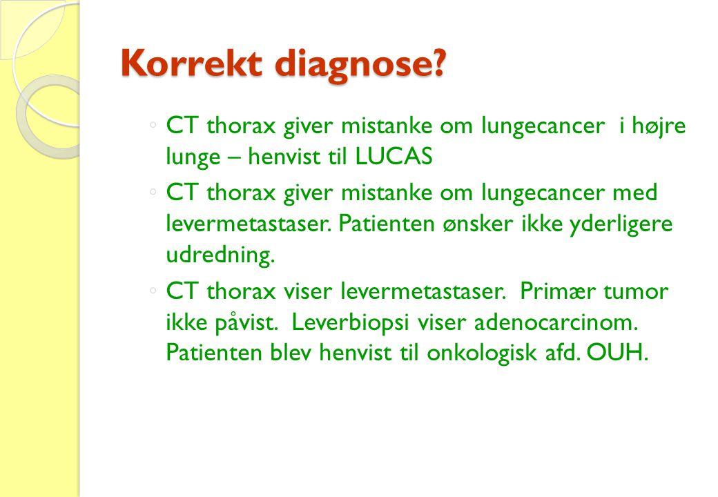 Korrekt diagnose? ◦ CT thorax giver mistanke om lungecancer i højre lunge – henvist til LUCAS ◦ CT thorax giver mistanke om lungecancer med levermetas