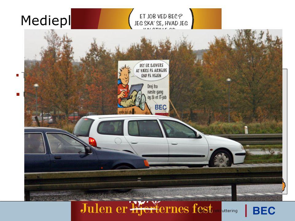Medieplan  Traditionelle medier  Utraditionelle medier  Tegneserie  Avisen 'Vores BEC'  Outdoor  Hængeskilte og sms'er  Motorvejsskilte  Julek
