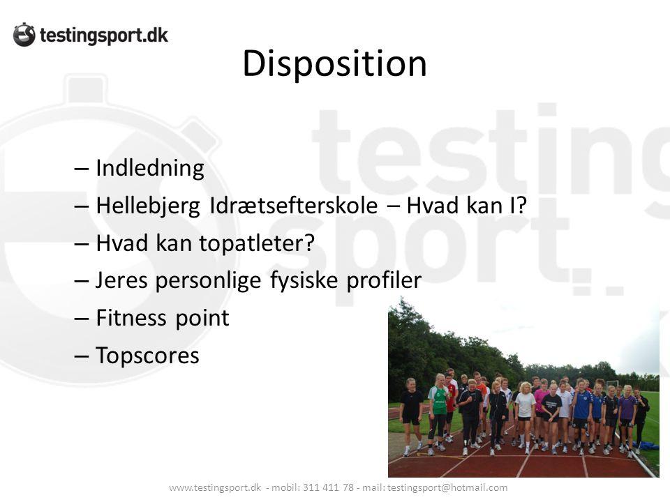 Disposition – Indledning – Hellebjerg Idrætsefterskole – Hvad kan I? – Hvad kan topatleter? – Jeres personlige fysiske profiler – Fitness point – Tops