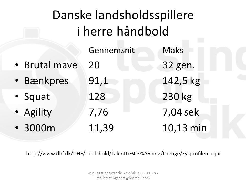 Danske landsholdsspillere i herre håndbold Gennemsnit Maks • Brutal mave20 32 gen. • Bænkpres91,1 142,5 kg • Squat 128 230 kg • Agility 7,76 7,04 sek