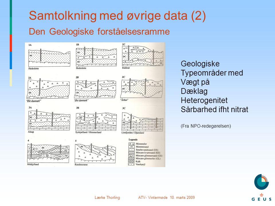 Lærke Thorling ATV- Vintermøde 10. marts 2009 Samtolkning med øvrige data (2) Den Geologiske forståelsesramme Geologiske Typeområder med Vægt på Dækla
