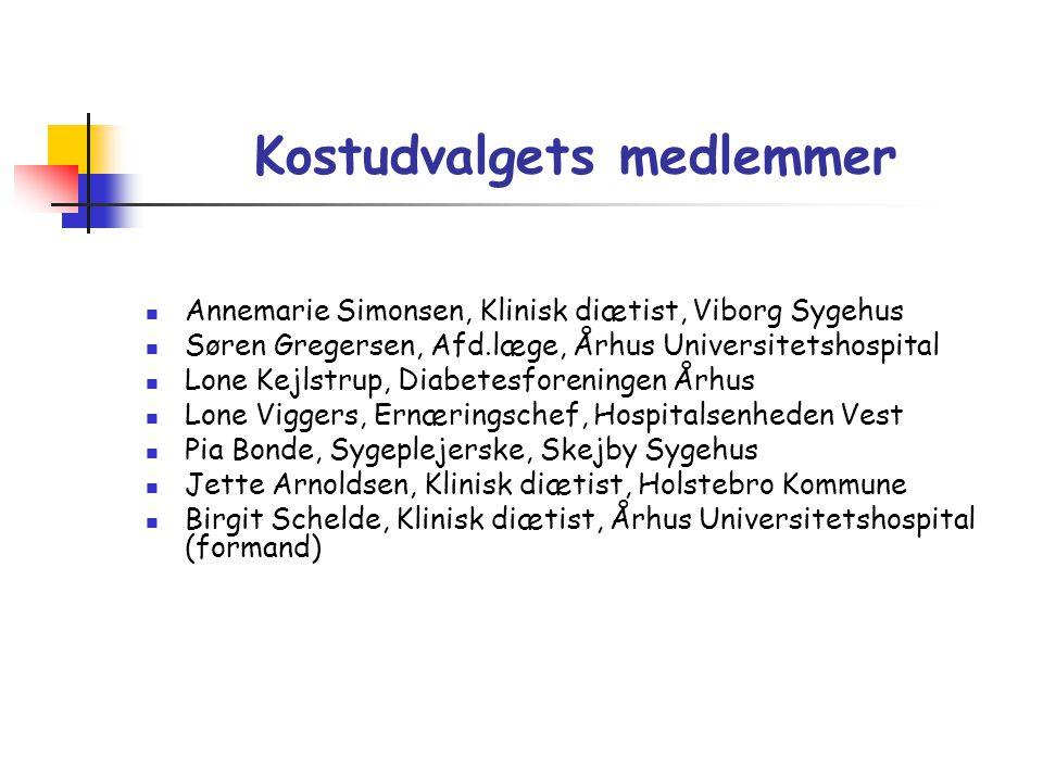Kostudvalgets medlemmer  Annemarie Simonsen, Klinisk diætist, Viborg Sygehus  Søren Gregersen, Afd.læge, Århus Universitetshospital  Lone Kejlstrup