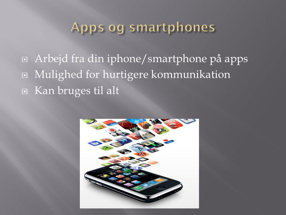  Arbejd fra din iphone/smartphone på apps  Mulighed for hurtigere kommunikation  Kan bruges til alt
