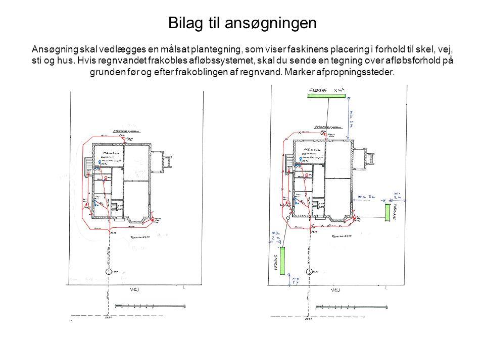 Bilag til ansøgningen Ansøgning skal vedlægges en målsat plantegning, som viser faskinens placering i forhold til skel, vej, sti og hus. Hvis regnvand