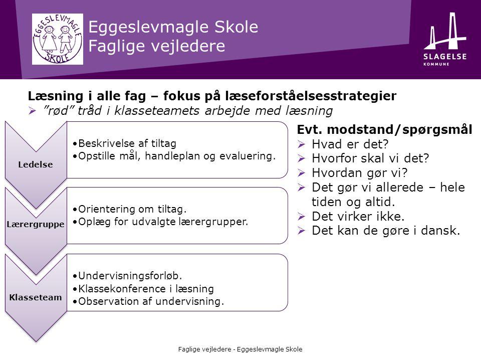 Eggeslevmagle Skole Faglige vejledere Faglige vejledere - Eggeslevmagle Skole Ledelse •Beskrivelse af tiltag •Opstille mål, handleplan og evaluering.