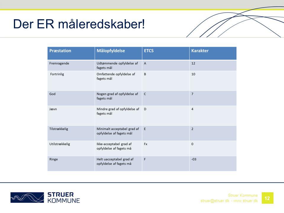 Struer Kommune struer@struer.dk - www.struer.dk Der ER måleredskaber! 12