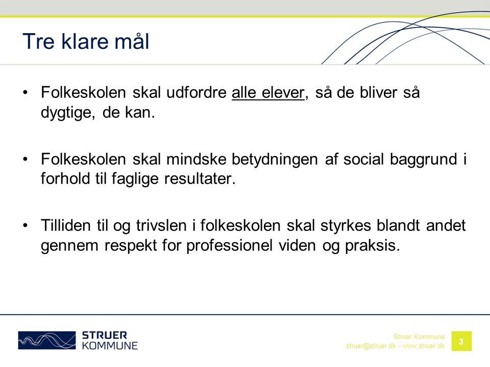 Struer Kommune struer@struer.dk - www.struer.dk Tre klare mål •Folkeskolen skal udfordre alle elever, så de bliver så dygtige, de kan. •Folkeskolen sk
