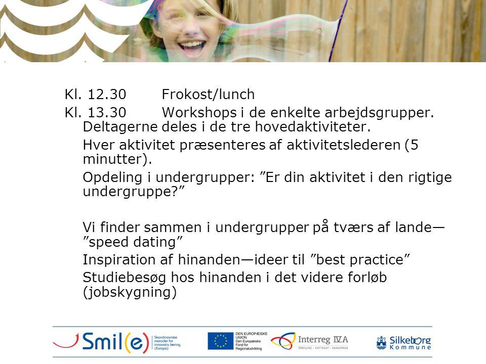 Kl. 12.30Frokost/lunch Kl. 13.30Workshops i de enkelte arbejdsgrupper. Deltagerne deles i de tre hovedaktiviteter. Hver aktivitet præsenteres af aktiv