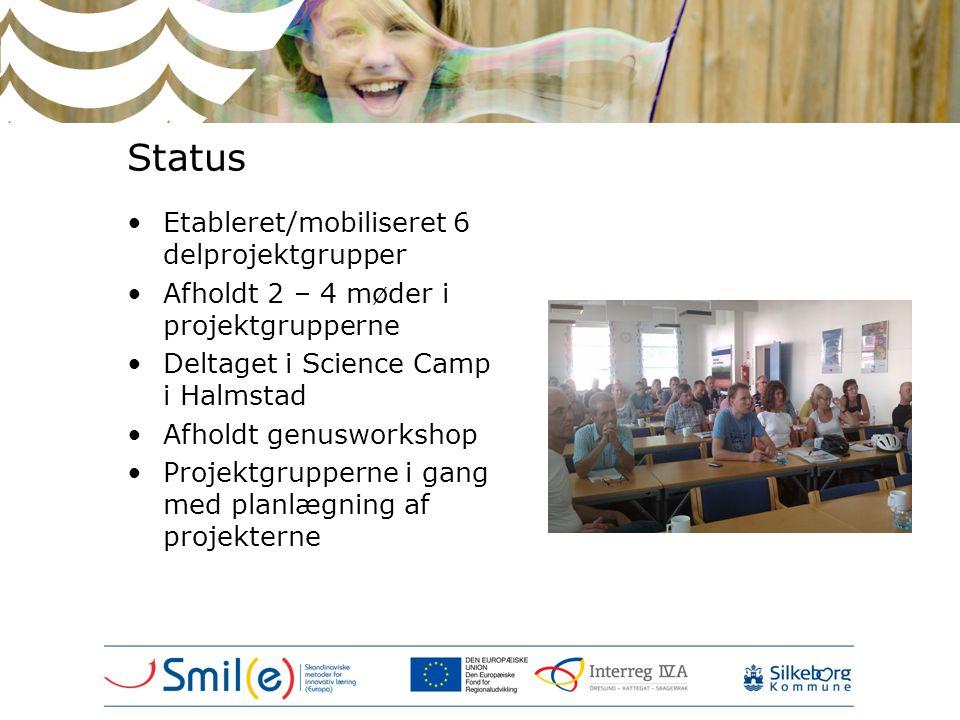 Status •Etableret/mobiliseret 6 delprojektgrupper •Afholdt 2 – 4 møder i projektgrupperne •Deltaget i Science Camp i Halmstad •Afholdt genusworkshop •
