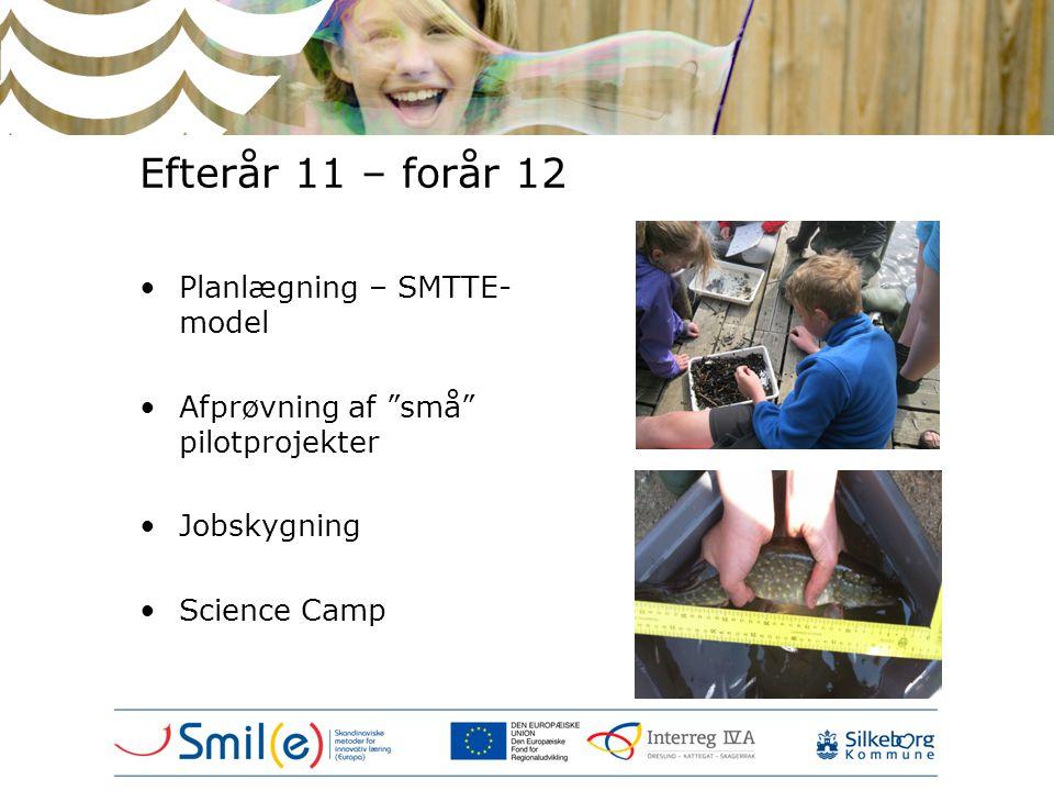 """Efterår 11 – forår 12 •Planlægning – SMTTE- model •Afprøvning af """"små"""" pilotprojekter •Jobskygning •Science Camp"""