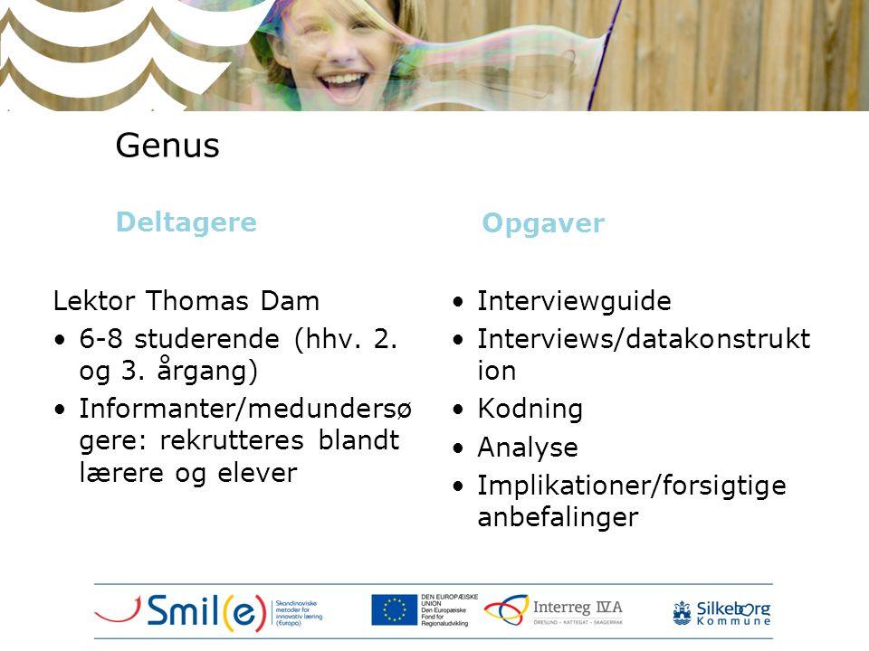 Genus Deltagere Opgaver Lektor Thomas Dam •6-8 studerende (hhv. 2. og 3. årgang) •Informanter/medundersø gere: rekrutteres blandt lærere og elever •In