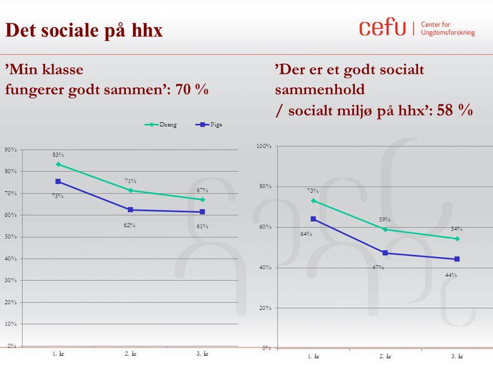 Det sociale på hhx 'Min klasse fungerer godt sammen': 70 % 'Der er et godt socialt sammenhold / socialt miljø på hhx': 58 %
