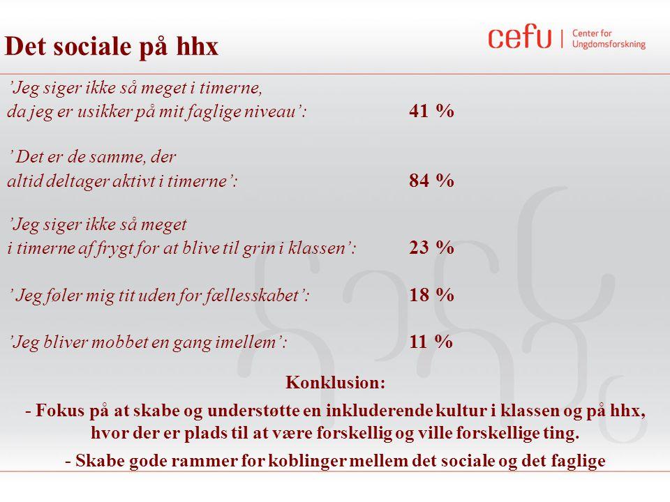 'Jeg siger ikke så meget i timerne, da jeg er usikker på mit faglige niveau': 41 % ' Det er de samme, der altid deltager aktivt i timerne': 84 % Det sociale på hhx 'Jeg siger ikke så meget i timerne af frygt for at blive til grin i klassen': 23 % ' Jeg føler mig tit uden for fællesskabet': 18 % 'Jeg bliver mobbet en gang imellem': 11 % Konklusion: - Fokus på at skabe og understøtte en inkluderende kultur i klassen og på hhx, hvor der er plads til at være forskellig og ville forskellige ting.