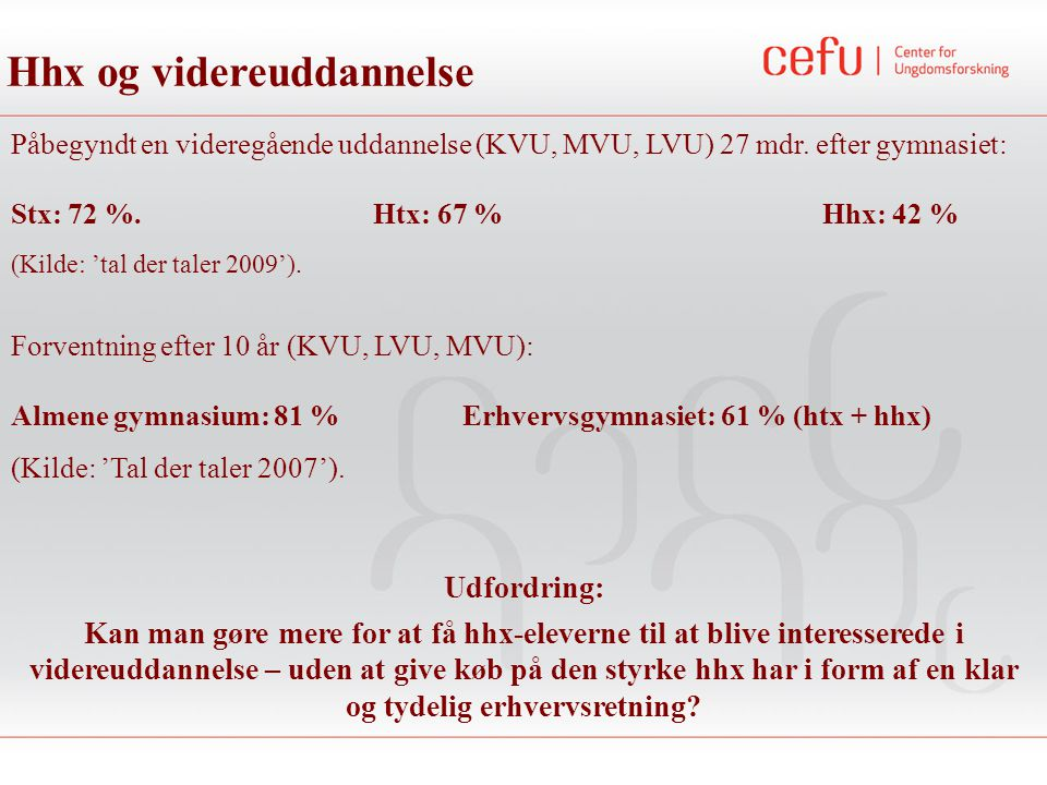 Påbegyndt en videregående uddannelse (KVU, MVU, LVU) 27 mdr. efter gymnasiet: Stx: 72 %. Htx: 67 % Hhx: 42 % (Kilde: 'tal der taler 2009'). Hhx og vid