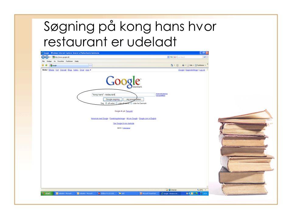 Søgning på kong hans hvor restaurant er udeladt