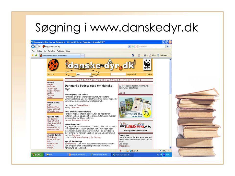 Søgning i www.danskedyr.dk