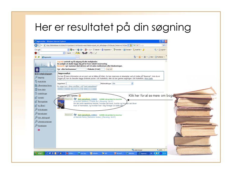 Min første søgning i www.google.dk