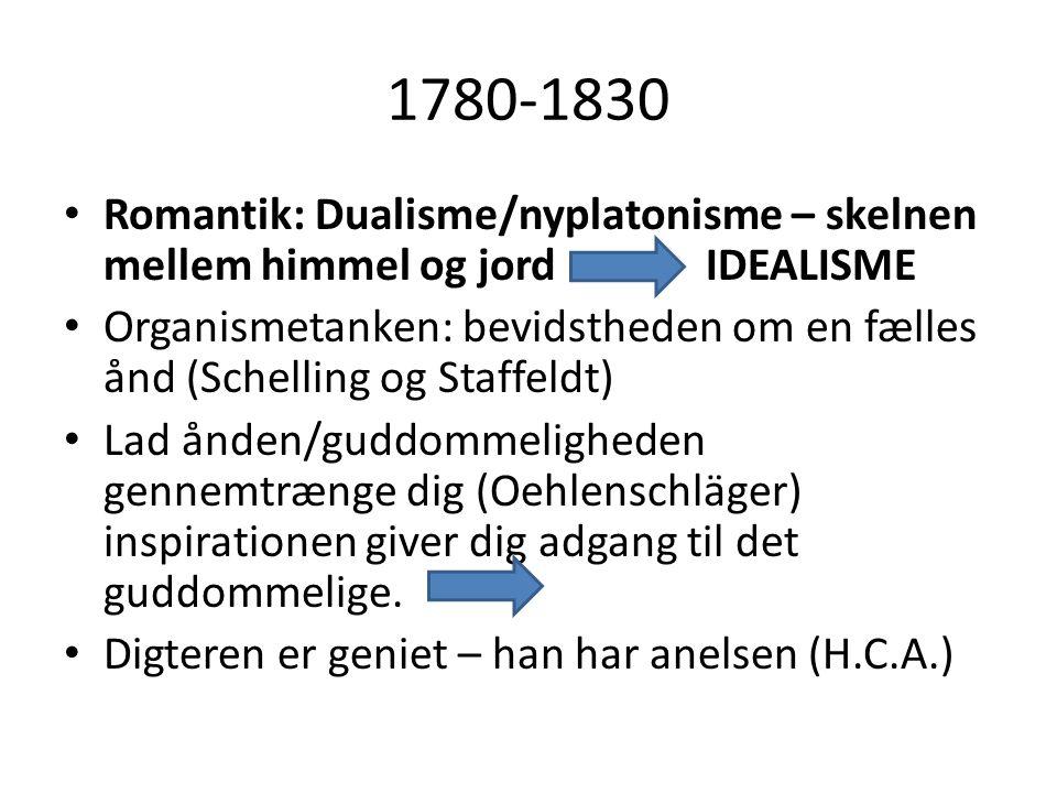 1780-1830 • Biedermeier: En kultur hvor fokus rettes indad mod familien og afskærmer fra det uhyggelige • Sociale forhold skjules • Politiske emner berøres ikke