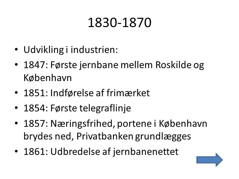 1830-1870 • 2 nye befolkningsgrupper: • PROLETAREN – byarbejderklassen • NYRIGE – grossister og fabrikanter
